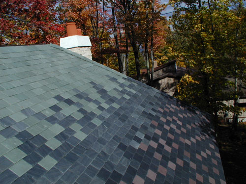 Slate Roof Blend Colors In Illinois, Entire Roofing Slates Of House Is  Covered With Westone